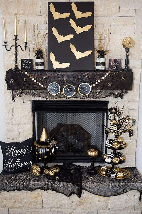 black-and-gold-mantel